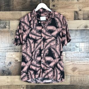 Primark Pink and Black Palm tree button down shirt